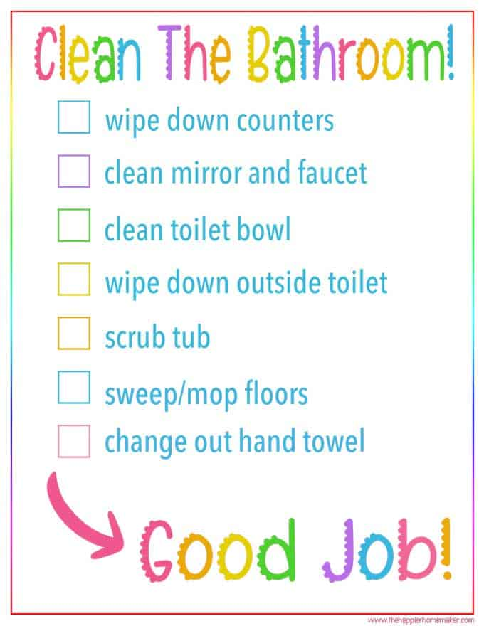 Kid\u0027s Bathroom Cleaning Checklist Free Printable Cleaning Checklist
