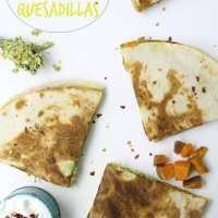 Sweet Potato Pesto Chicken Quesadillas
