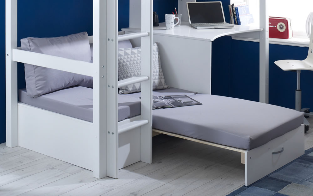 Flexa Nordic High Sleeper Bed 3 Slatted Bed Ends Silver Futon