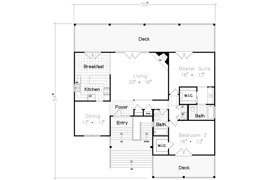 Beach Bungalow 3928 - 2 Bedrooms and 25 Baths The House Designers - bungalow floor plans