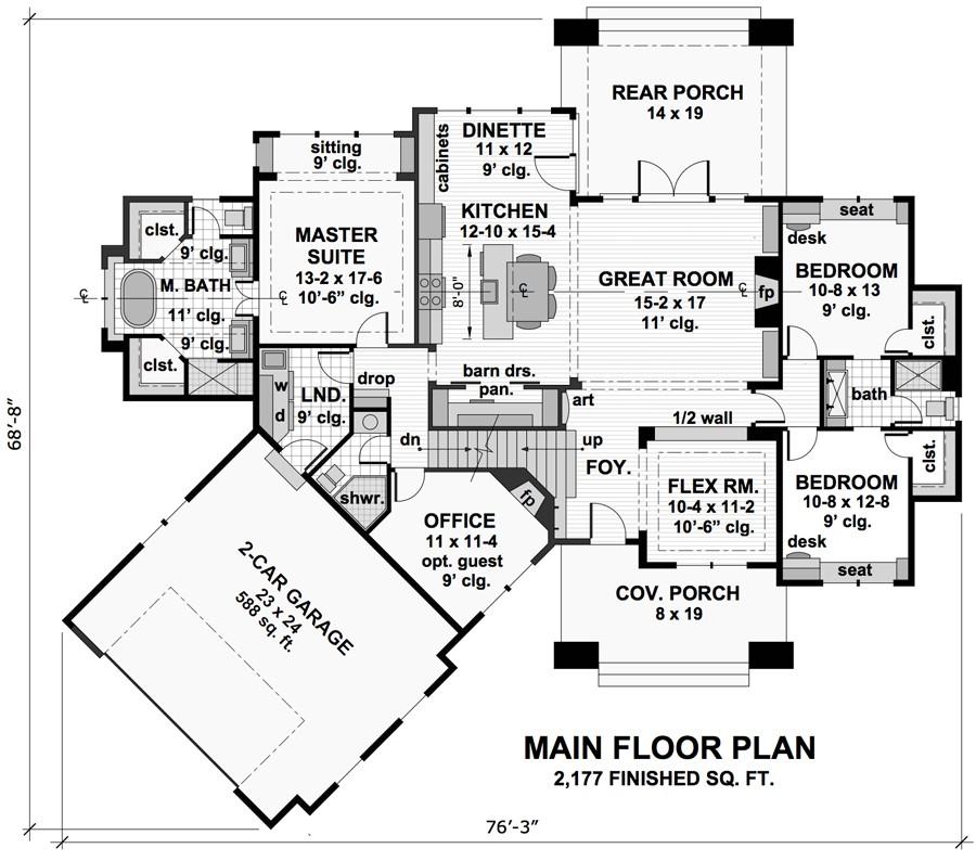 three-bedroom cottage house plan - Copy Barn Blueprint 3