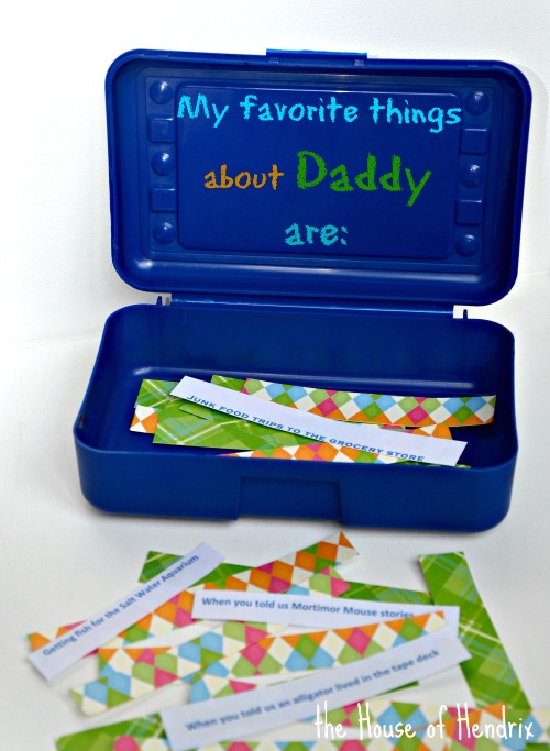 Incredibly thoughtful gift for a parent or grandparent! Have your child decorate a box and fill it with memories and their favorite things about the person. |the House of Hendrix
