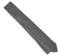 Grey Silk and Cotton Tie with Black Polka Dots - The House ...