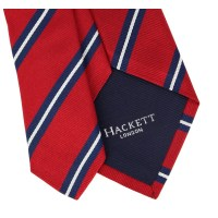 Hackett Red Tie with Navy Blue and White Stripes - The ...