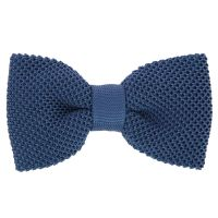 Steel Blue Knit Silk Bow Tie - The House of Ties