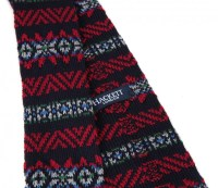 Navy Blue Knit Wool with Red Pattern Hackett Tie - The ...