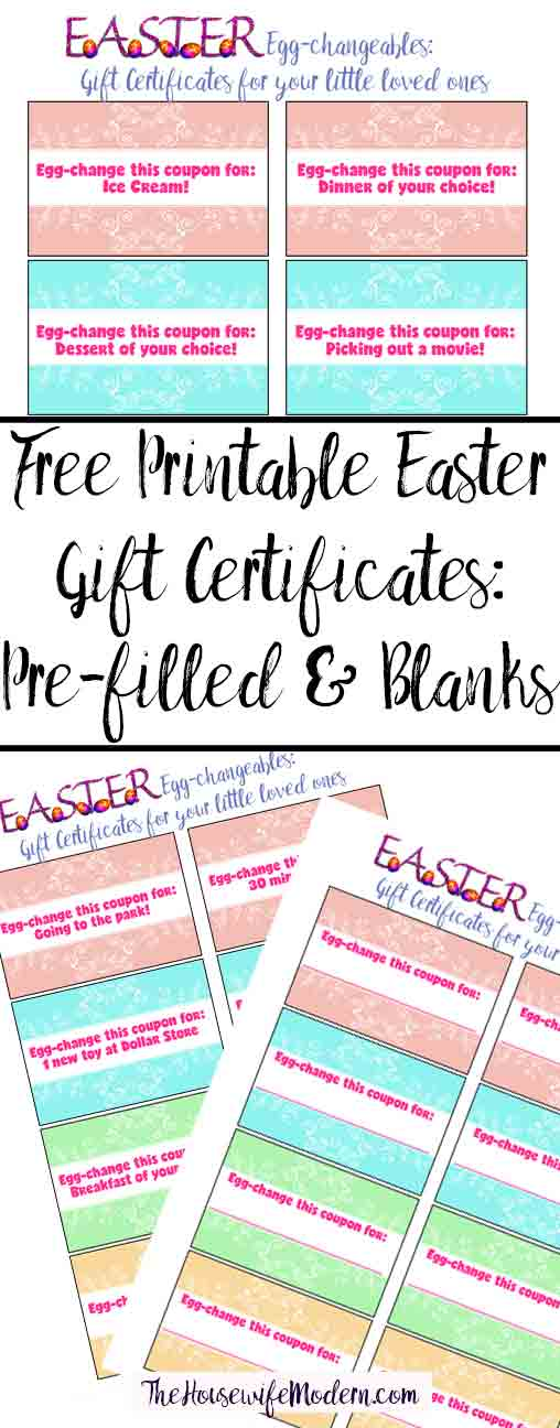 Free Printable Easter Gift Certificates for Kids