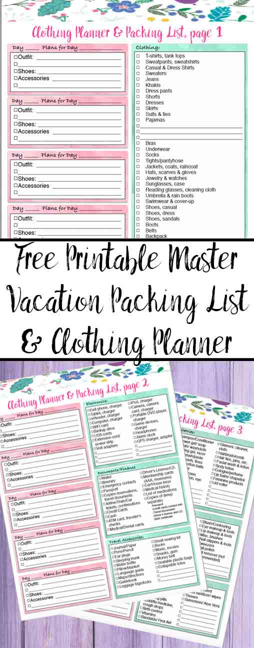 Free Printable Master Vacation Packing List  Clothing Planner - Vacation Packing List Printable