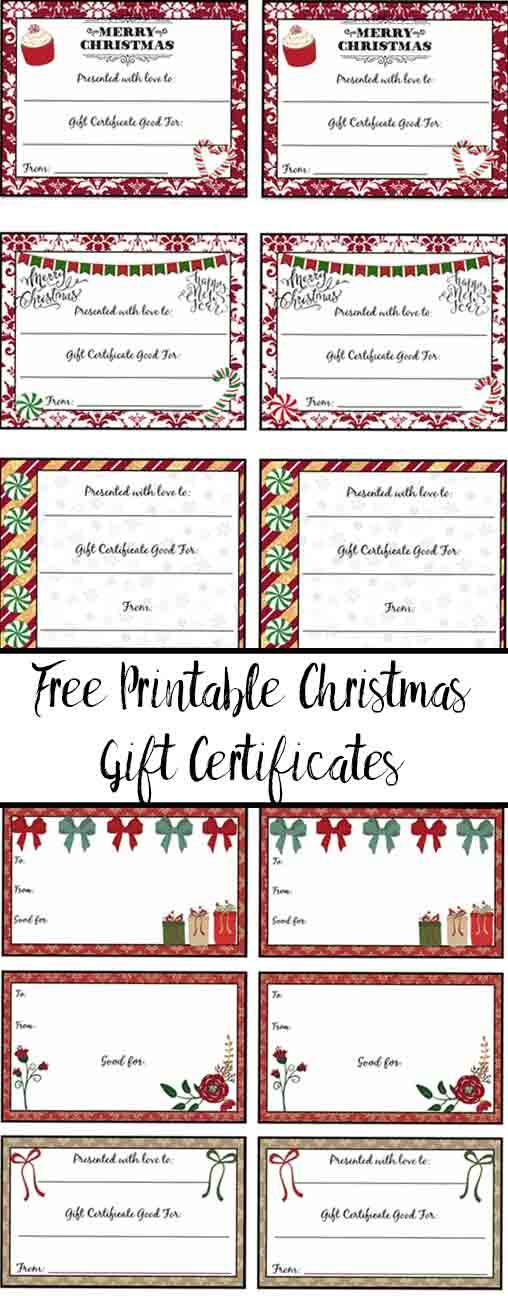 FREE Printable Christmas Gift Certificates 7 Designs, Pick Your - printable christmas certificates