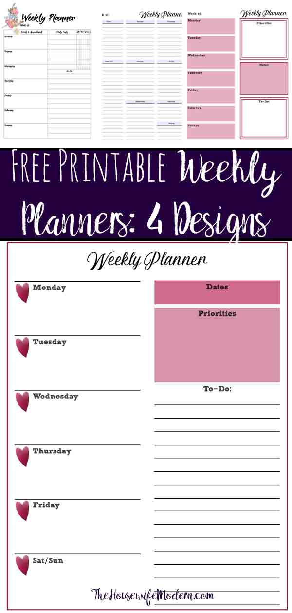Free Printable Weekly Planners Monday Start