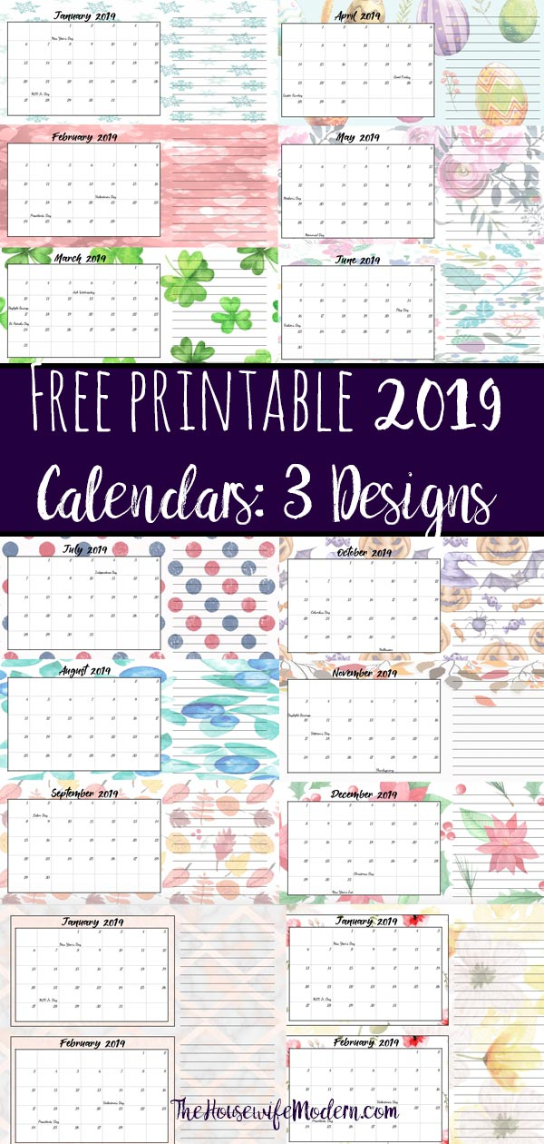 Free Printable 2019 Quarterly Calendars with Holidays 3 Designs
