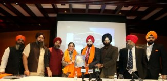 Sant Singh Chatwal and Daman Chatwal being honored in New York, May 27. (Left to right) Gurmeet Singh , Paramjit Singh Rana, chairman of DSGMC Dharam Prachar Committee, Sant Chatwal, Manjit Singh, president of DSGMC, Manjinder Singh Sirsa and Producer Bobby Bedi, Puneet Singh Chandhok during the launch of MOOL project for a Sikh Center for International Studies in Rakab Ganj Gurdwara, New Delhi. Photo/ Mohammed Jaffer-SnapsIndia