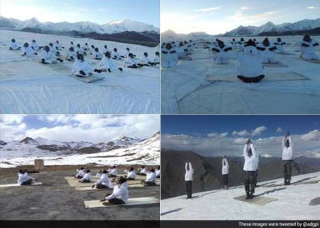 Indian Army personnel doing yoga at Kargil
