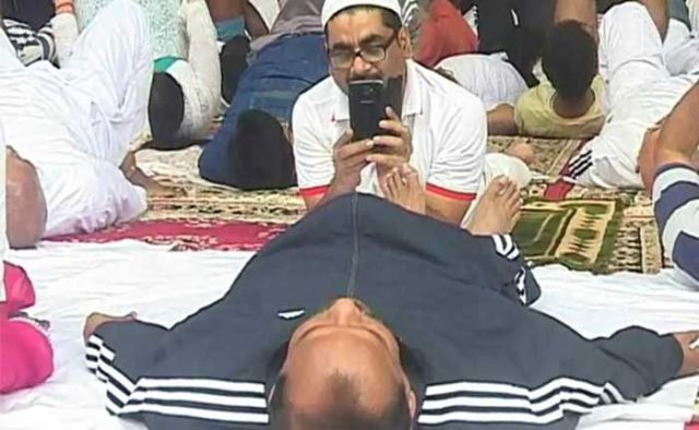 Jharkhand Chief Minister Raghubar Das, taken as he performed Yoga.