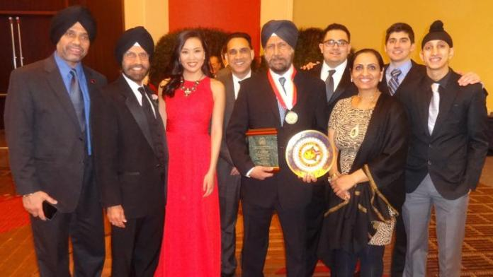 Indian American Exemplary Community Service Award winner Amarjit Singh M.D with friends at the 32th. Asian American Coalition of Chicago Lunar New Year Celebration [Phot by PCS] (Posted by Suresh Bodiwala, Community Contributor)