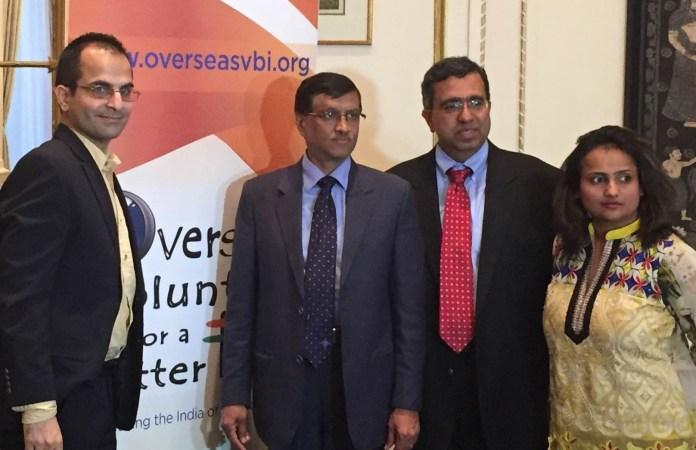 At the launch of OVBI website at the Indian Consulate in New York, April 28. From L to R: Anil Sharma, OVBI Board Member, Consul General Dnyaneshwar Mulay, Suresh Vasu, President OVBI , Drumi Bhatt, OVBI Member - TIP Photo