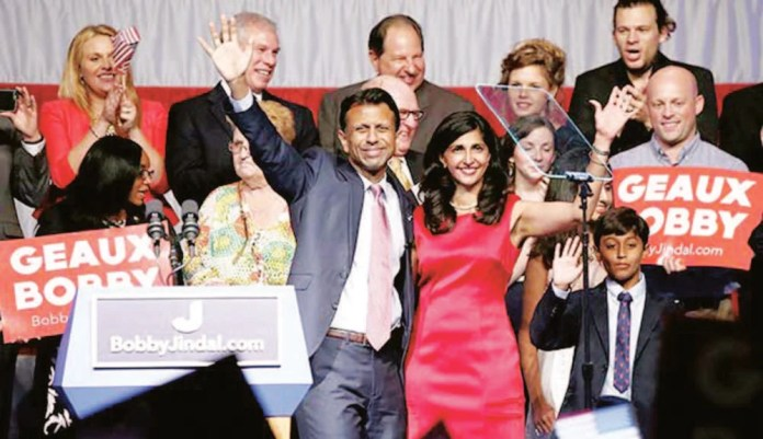 Bobby Jindal, family and staff at the announcement of his presidential bid at Kenner, Louisiana, June 24