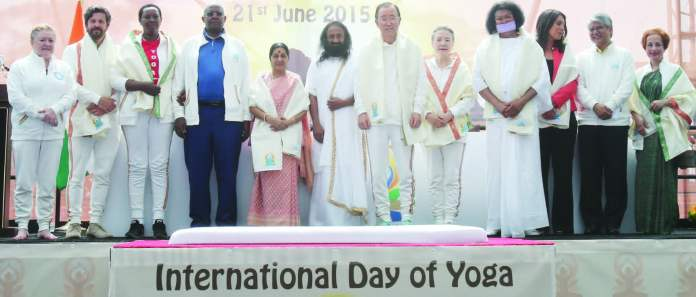 Dignitaries at the celebration of First Internation al Day of Yoga at the United Nations on Sunday, 21st June. Photo: Jay Mandal