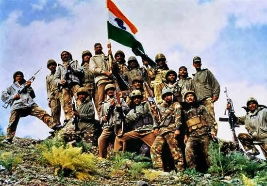 The victorious Indian Army in Dras during the Kargil war in 1999