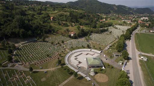 An areal view of memorial center in Potocari near Srebrenica, 150 kms north east of Sarajevo, Bosnia, on Wednesday, July 8,2015. The memorial center in Potocari, is a cemetery for victims of Srebrenica massacre who were killed in the summer of 1995 during the worst atrocity on European soil since the Second World War. AMEL EMRIC — AP Photo