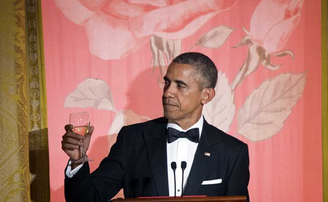 US President Barack Obama during a State Dinner in the East Room of the White House in Washington, DC, September 25, 2015. (AFP Photo)