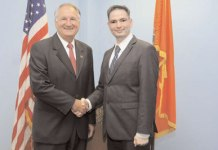 Nassau County Comptroller George Maragos (left) shaking hands with the newly appointed Director of South East/Asian Affairs Dilip Chauhan