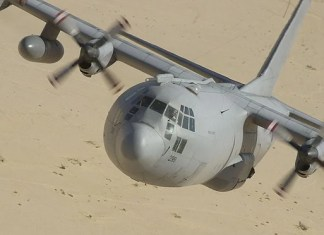 The C-130 Hercules is a cargo plane built by Lockheed Martin. It is powered by four turboprop engines and is used extensively by the military to ship troops and heavy gear