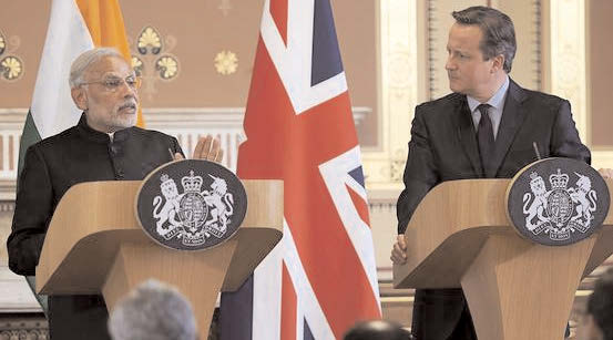 Indian Prime Minister Narendra Modi and British Prime Minister David Cameron at a joint press conference in London on Nov. 12, 2015.
