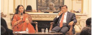Judge Raja Rajeswari answers questions. Ambassador Mulay moderated the Q & A session.