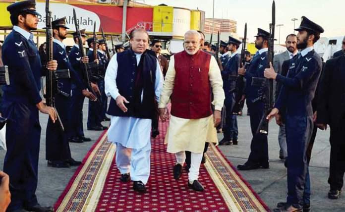 Prime Minister Narendra Modi with Pakistan Prime Minister Nawaz Sharif on his Christmas day visit to Pakistan