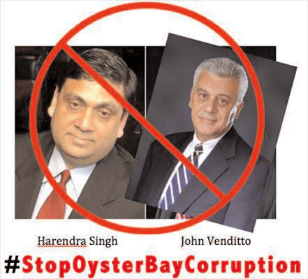 The picture shows indicted contractor Harendra Singh and Town of Oyster Bay Supervisor John Venditto, with a call to end corruption in Oyster Bay Photo/ Courtesy Democracy.com
