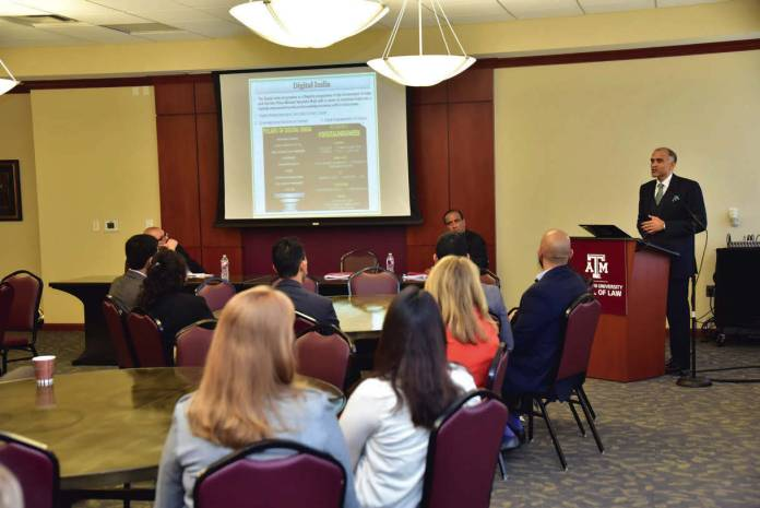 Consul General of India in HoustonHarish Parvathaneni who was Keynote Speaker at the Center for Law and Intellectual Property Distinguished Speaker Serieson Wednesday, 24 February 2016 at Texas A&M School of Law, Fort Worth, TX., highlighted India's strong engagement with the U.S. and partner countries on IPR