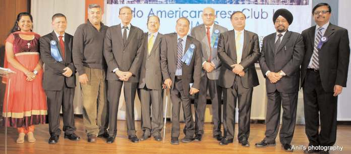 The new team with guests. L to R: Vineetha Nair, Parveen Chopra, Kamlesh Mehta, HR Shah, Dr Ajay Lodha, Dr. Thomas Mathew Joys, Ginsmon Zacharia, Shomik Chaudhuri, Prof Indrajit Saluja and Korason Varghese.