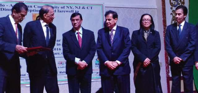 Ambassador Mulay with hosts and community leaders at Royal Albert's Palace