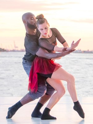 """""""Observatory,"""" choreographed by Theo Ndindwa at 33rd annual Battery Dance Festival From L to R: Clement Mensah and Mira Cook Photo Credit: Darial Sneed"""