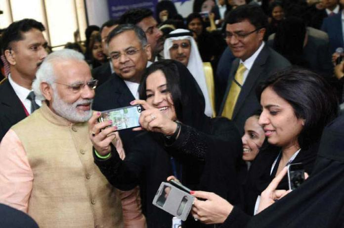 Prime Minister Narendra Modi interacted with Saudi women IT professionals at the first-of- its-kind allwomen Tata Consultancy Training Center in Riyadh