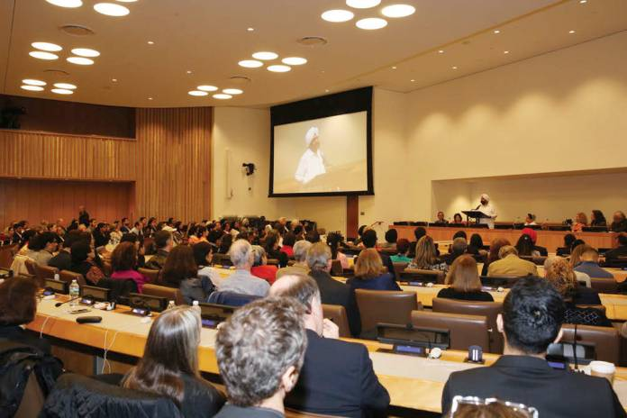 Sant Rajinder Singh speaking on meditation as medication for the soul at the United Nations, Monday, May 2.