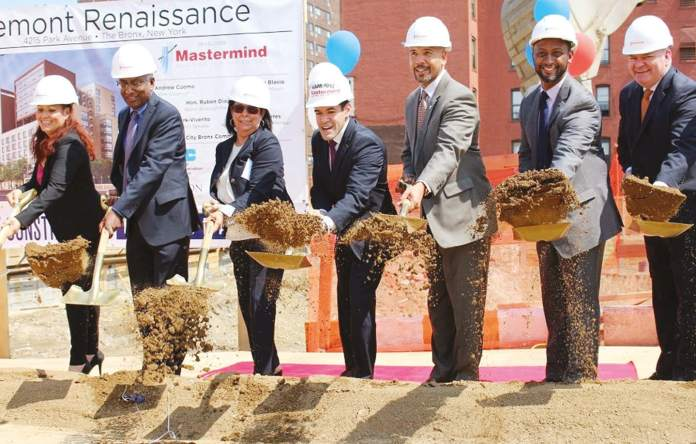 Bronx Borough President Ruben Diaz Jr. ( 5thfrom left) joined community leaders in groundbreaking for the new mixed-income Tremont Renaissance housing complex in the East Tremont section of The Bronx. Located between Webster Avenue and Park Avenues, May 25.