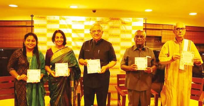 Prabhala Subash, Uma Swaminathan, Krishnamurthy, Selvaraj and Chari at the book signing event.