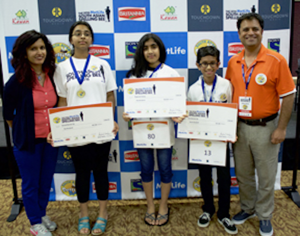 Dallas Winners: (Left to Right): Sandhya Sharma, Regional Event Director-Dallas, Smrithi Upadhyayula, second runner-up, Ananya Kodali, regional champion, Rohan Rajeev, first runner-up, Rahul Walia, Founder of The MetLife South Asian Spelling Bee