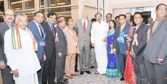 IL Governor Bruce Rauner & Union Minister Venkaiah Naidu joined by ATA leaders and political leaders from A.P. & Telangana