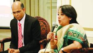 Consul General Mrs. Riva Ganguly Das (right) and Deputy Consul General Dr Manoj Kumar Mohapatra addressing the gathering