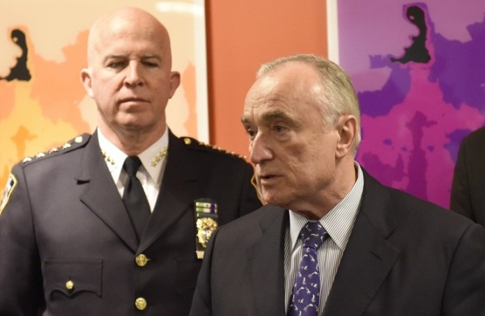 New York City Police Commissioner Bill Bratton (right) and his successor, Chief of Department James O'Neill.