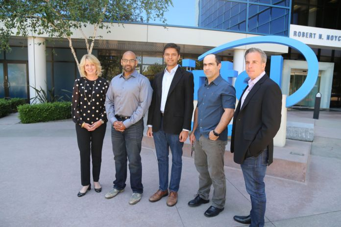 Intel has announced it has acquired San Diego, Calif.-based Nervana Systems for $400 million. Pictured (left to right) are Intel Data Center Group VP and GM Diane Bryant, Nervana co-founders Naveen Rao, Arjun Bansal and Amir Khosrowshaki; as well as Intel vice president Jason Waxman. (Intel photo)