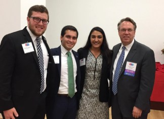 "Prachi Makkar with Federal Reserve Bank of San Francisco President & CEO John Williams at the ""Improving Diversity in the Financial Services Industry. A Holistic View."" Conference in Newark, NJ on October 19th, 2016. Seen in the picture, from L to R: Seton Hall University Leadership Students Geoffrey Thomulka, Luciano Cundari, Prachi Makkar with John Williams, President & CEO of Federal Reserve Bank of San Francisco, CA."