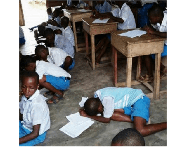 Shameful Sight!! See students writing exams on bare floor in Akwa Ibom (+Photo)