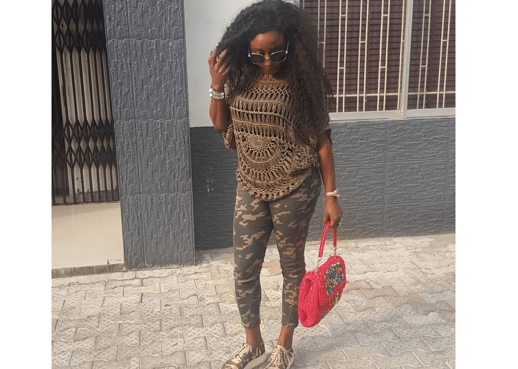 Ini Edo steps out in camouflage pants and footwear (See Photo)