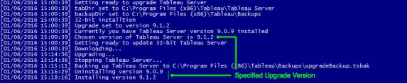 Tableau Server Specified Version Upgrade