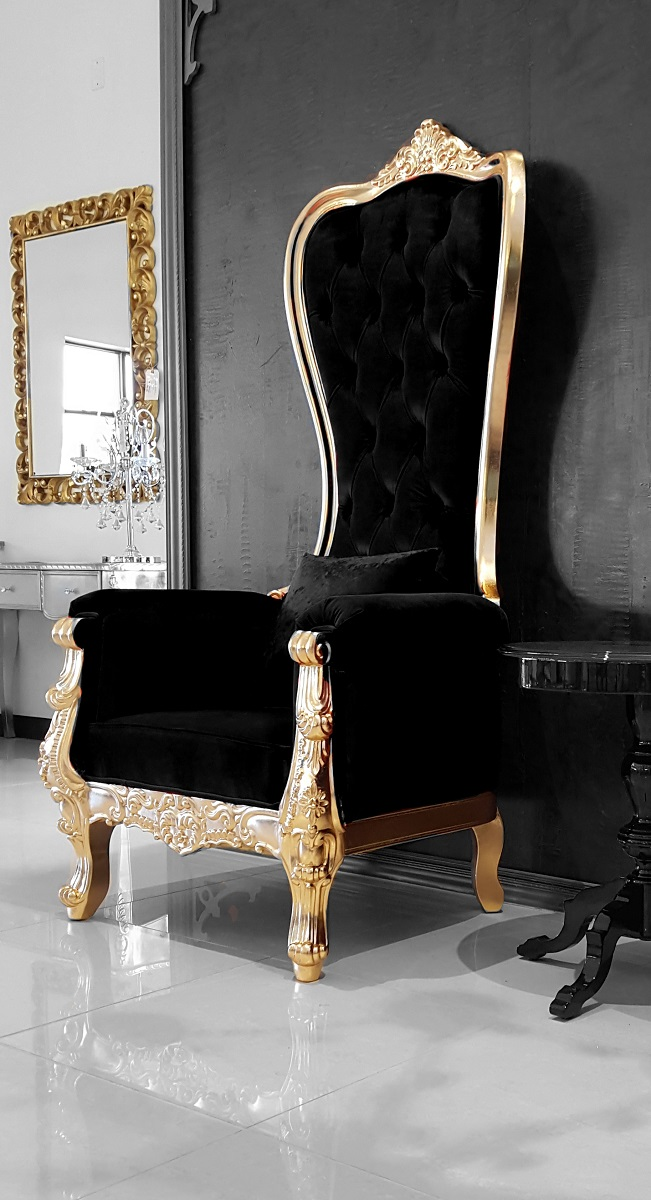 Baroque Throne Chair Queen High Back Chair Black and Gold