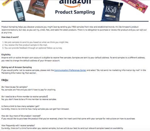 Amazon Rolls Out Free Samples Program - How to Get Free Samples from